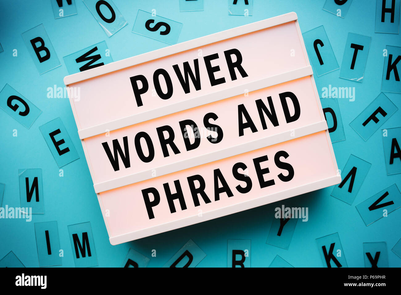Power Words And Phrases Concept With Lightbox Stock Photo