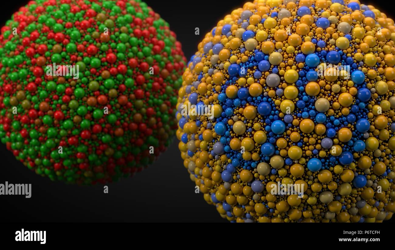 color blindness test with spheres  3d illustration Stock