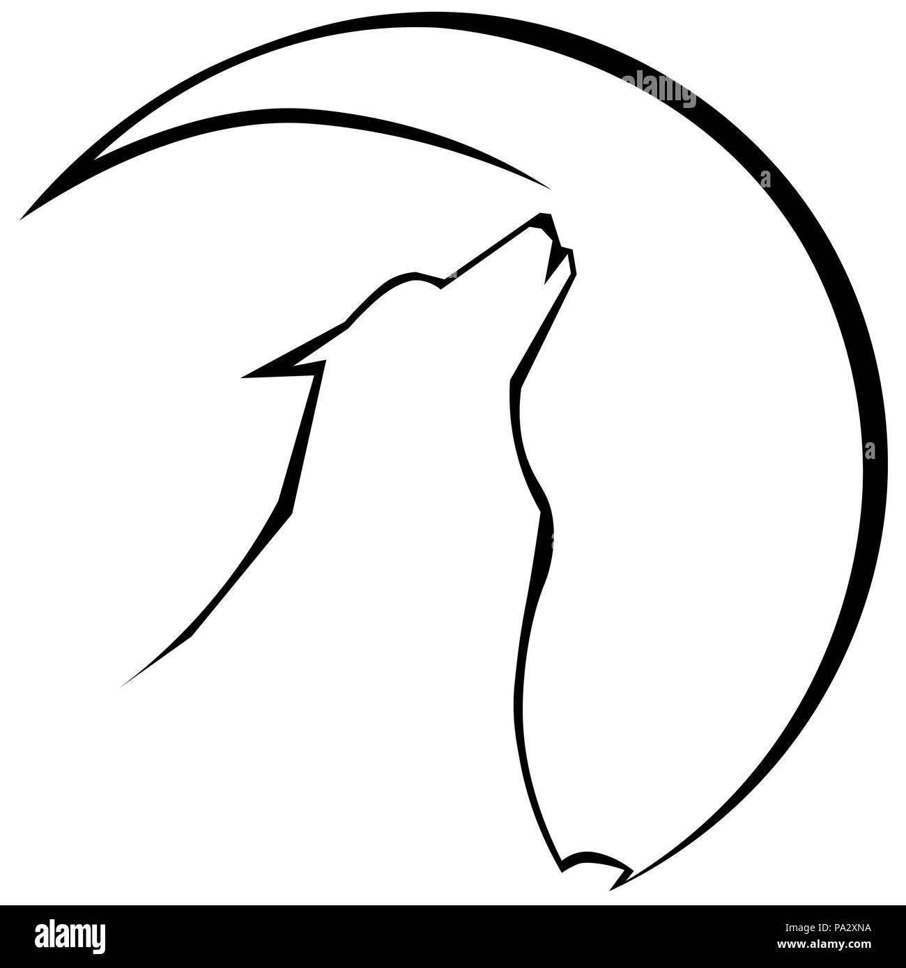 silhueta de lobo uivando para a lua logo minimalista tatuagem