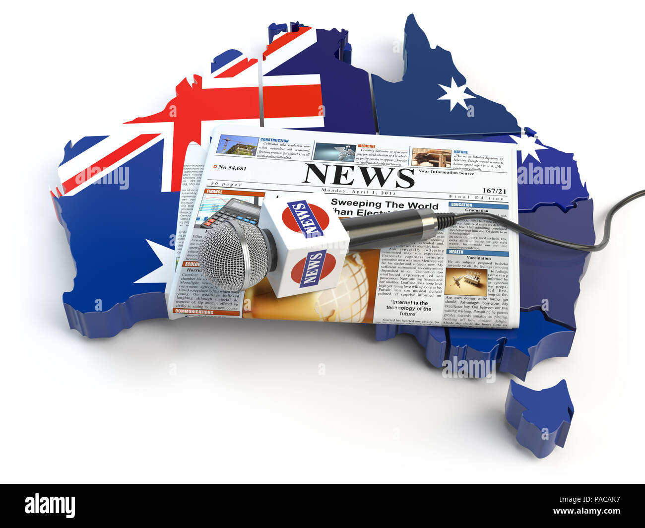 Map Of Young Australia.Australian News Press And Journalism Concept Microphone And