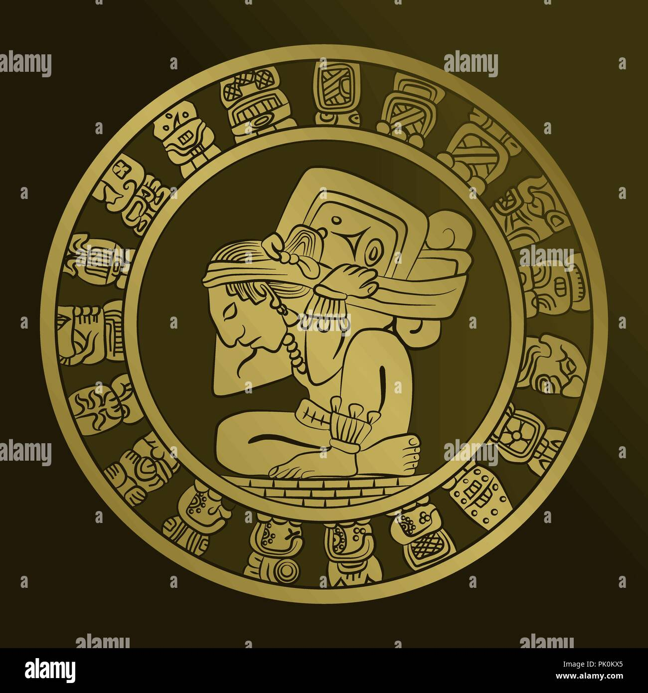 Calendario Maya Vector.Vector Mayan Calendar Image On The Coin Mexican Culture
