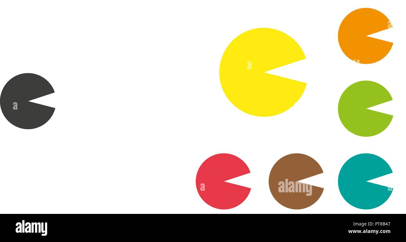 pacman set, Flat pixel smile icons set, Pac man character, gameboy