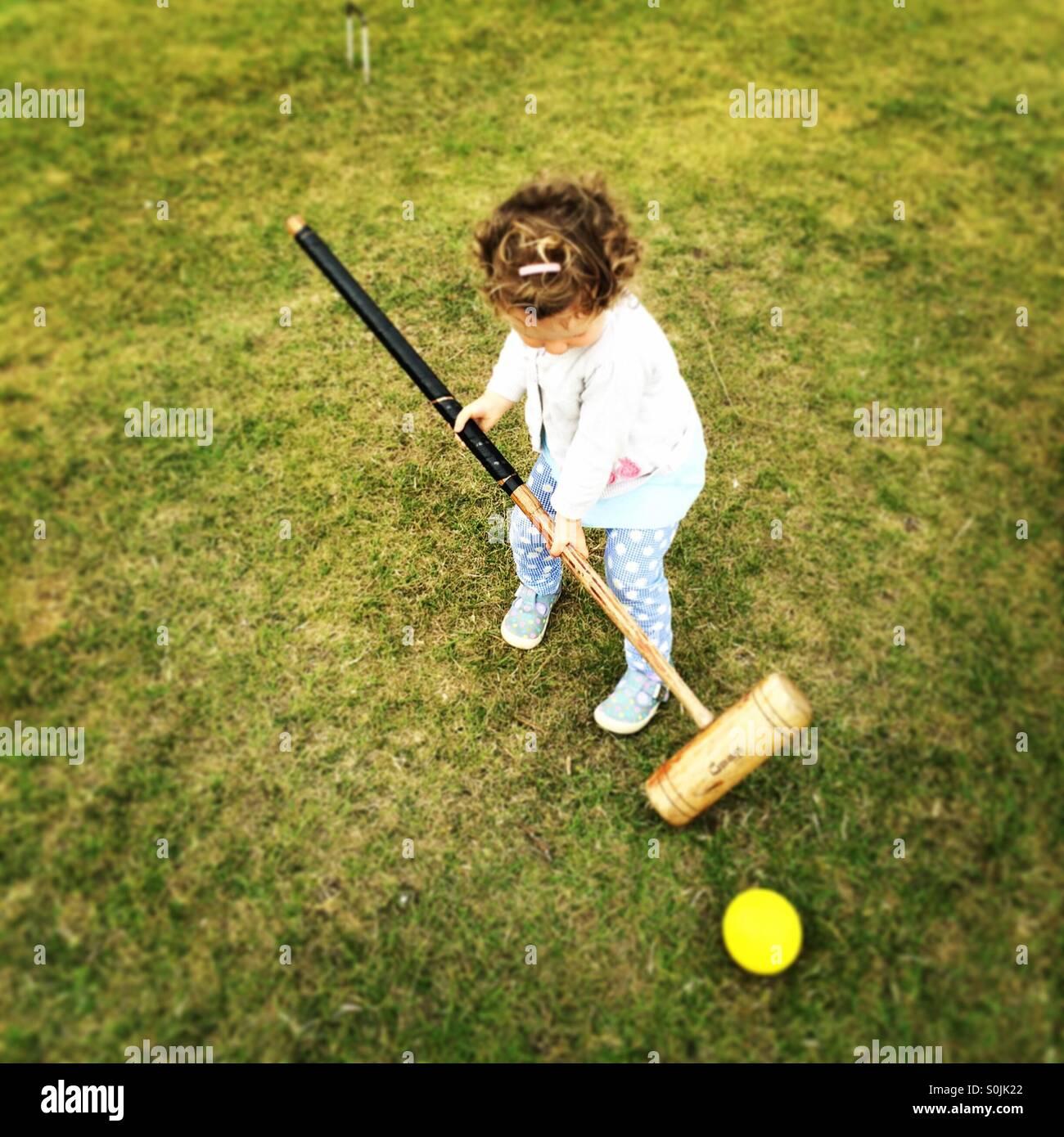 Croquet da criança Imagens de Stock