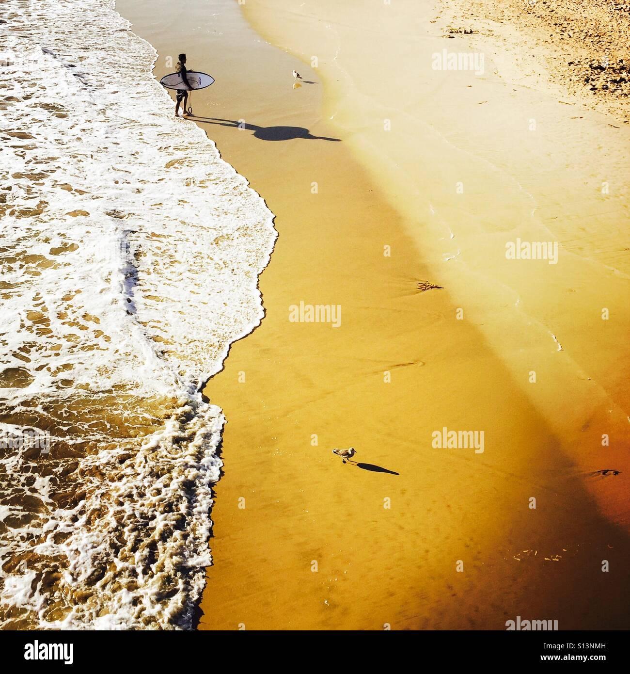 Um macho Surfer caminha até a praia depois do surf. Manhattan Beach, na Califórnia (EUA). Imagens de Stock