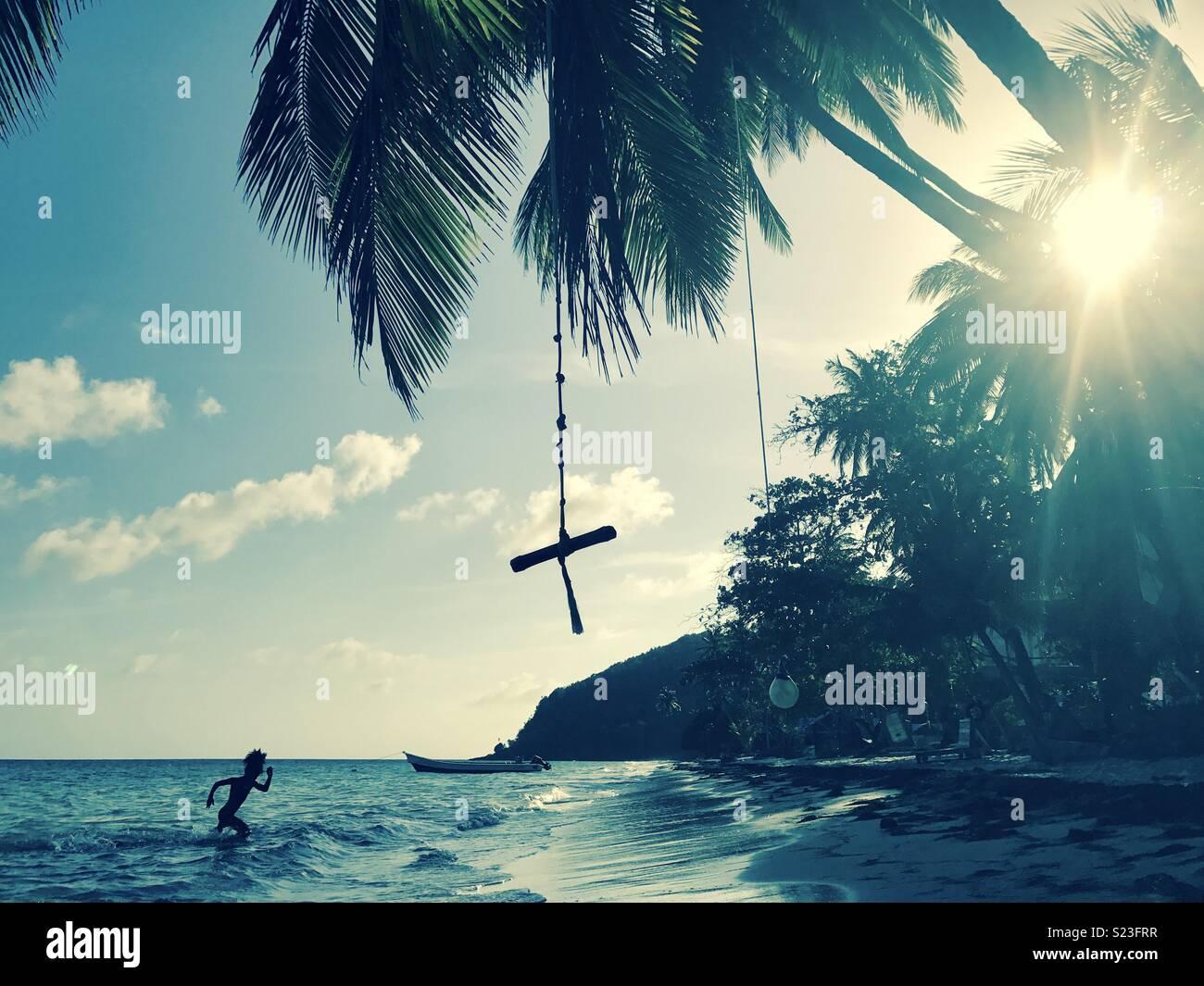 A cena da praia das Caraíbas em Providencia Island, uma ilha no Caribe colombiano. Imagens de Stock