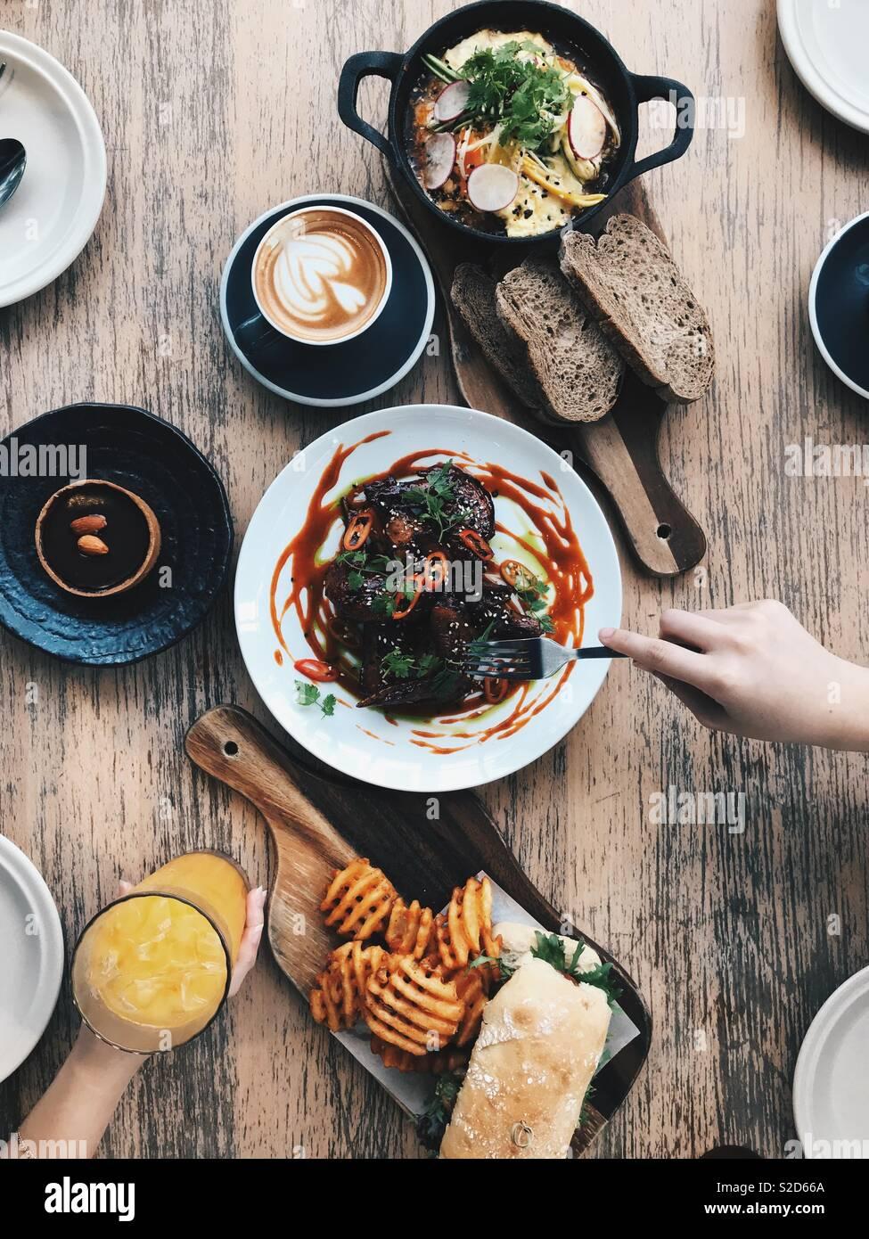 Comida e café Imagens de Stock