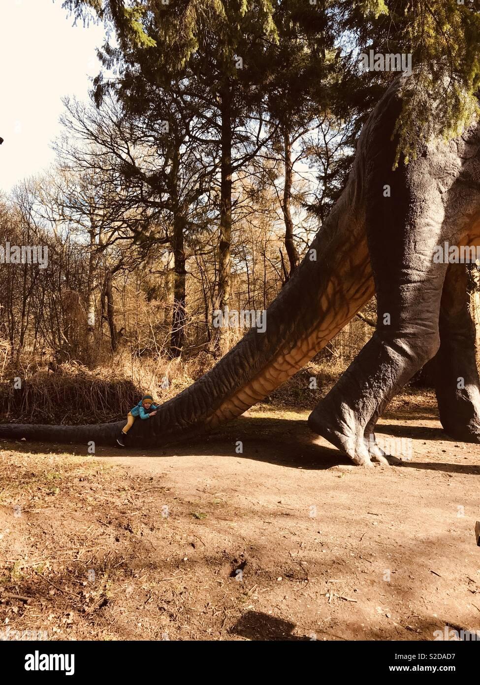 Escalada criança cauda de dinossauro modelo Imagens de Stock