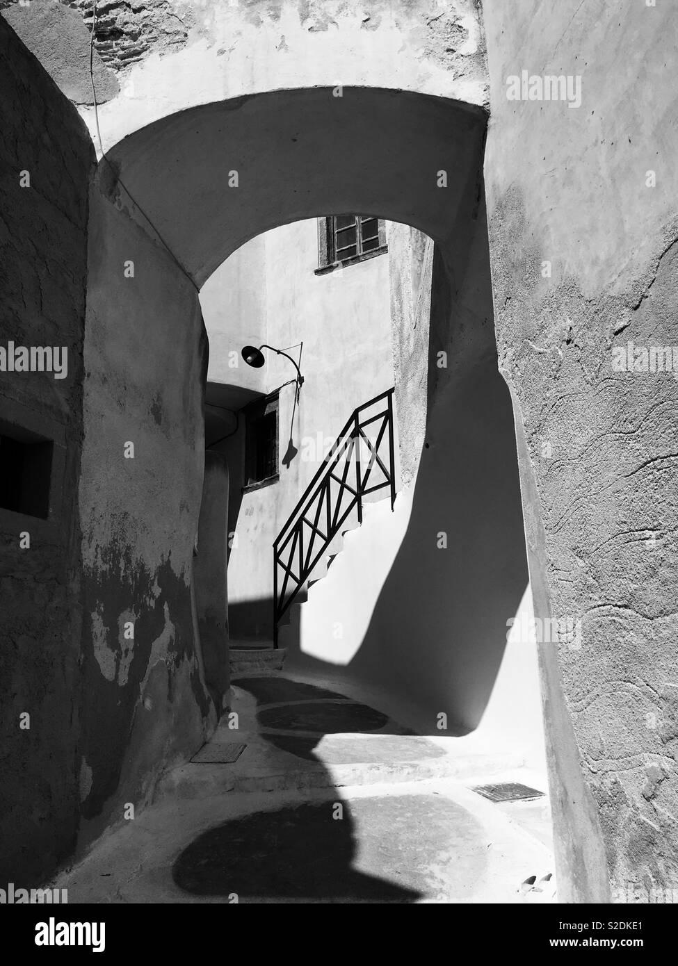 Back ruas, Santorini Imagens de Stock