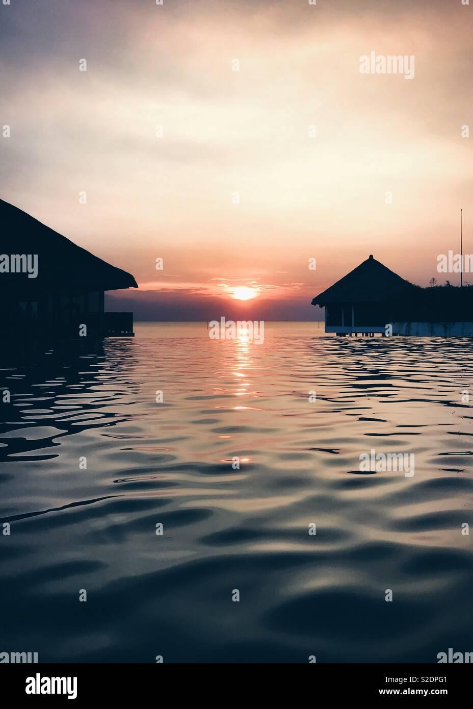 Pôr do sol Imagens de Stock