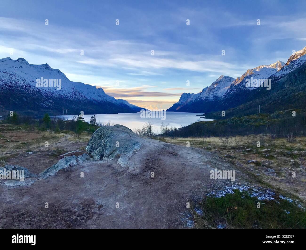 Kvaløysletta Fjord Imagens de Stock