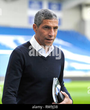 Brighton manager Chris Hughton arrives for the Premier League match between Brighton & Hove Albion and Huddersfield Town at the American Express Community Stadium . 02 March 2019 - Stock Image