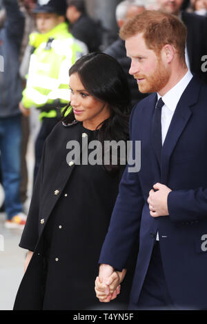 The Duke and Duchess of Sussex visit New Zealand House to sign the Book of Condolence in respect of last week's terror attack  Featuring: Prince Harry, Duke of Sussex, Meghan, Duchess of Sussex, Meghan Markle Where: London, United Kingdom When: 19 Mar 2019 Credit: John Rainford/WENN - Stock Image