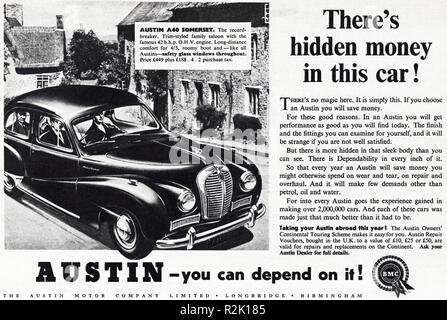 Original 1950s vintage old print advertisement from English magazine advertising Austin A40 Somerset circa 1954 - Stock Image