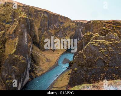 River running through the beautiful Fjaðrárgljúfur gorge in southern Iceland - Stock Image