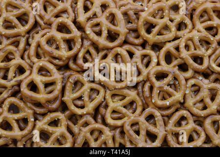 Closeup of a bunch of pretzels - Stock Image