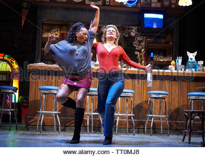Sweat by Lynn Nottage, A Donmar Warehouse Production directed by Lynette Linton.With Clare Perkins as Cynthia, Martha Plimpton as Tracey. Opens at The Gieilgud Theatre on 12/6/19 pic Geraint Lewis EDITORIAL USE ONLY - Stock Image