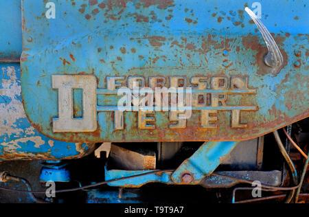 fordson major diesel tractor metal nameplate logo - Stock Image
