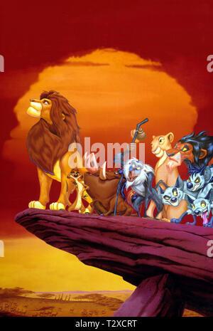 SIMBA,TIMON,PUMBAA,RAFIKI, RAFIKI,NALA,SCAR, THE LION KING, 1994 - Stock Image