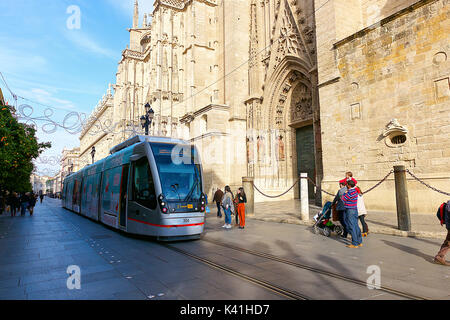 Tramway in Seville,Spain - Stock Image