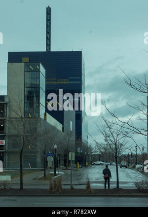 Guthrie Theater from behind with man in foreground - Stock Image