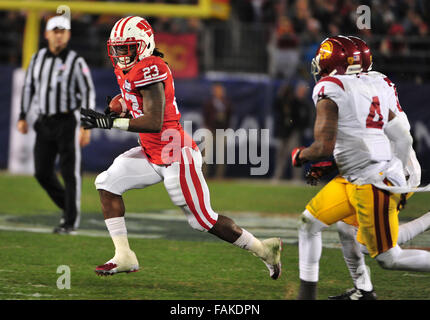 December 19, 2015. RB Dare Ogunbowale #23 of Wisconsin in action during the 2015 National Education Holiday Bowl - Stock Image