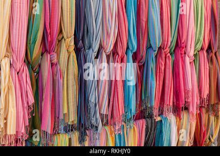 Colored cloths for sale, street market Sineu, Majorca, Balearic Islands, Spain - Stock Image