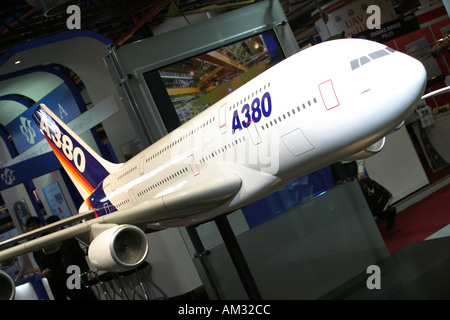 Model of Airbus A 380 Airbus stand Asian Aerospace 2004 - Stock Image
