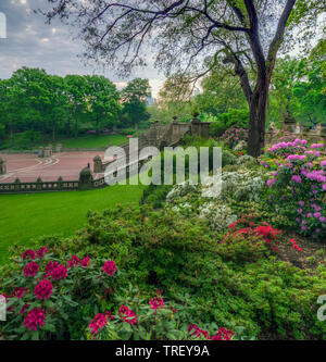 Bethesda Terrace overlooks the Lake and as well as the wooded shores of the Ramble. - Stock Image