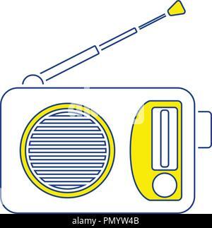 Radio icon. Thin line design. Vector illustration. - Stock Image