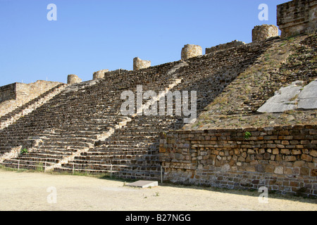 Staircase Leading to the North Platform Colonnade. The Archaeological Site at Monte Alban, near Oaxaca City, Oaxaca, - Stock Image