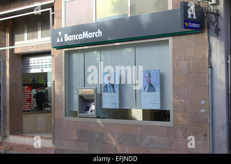 La Palma - Canary Islands - 23rd January 2015: BancaMarch bank is one of the main Spainish banks in La Palma. - Stock Image