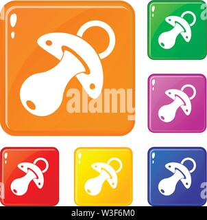 Baby pacifier icons set vector color - Stock Image