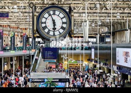 London England United Kingdom Great Britain Lambeth South Bank Waterloo Station trains railway concourse man woman passengers commuters terminal crowd - Stock Image
