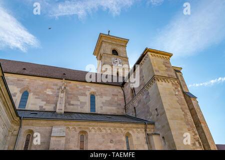 Beautiful view to the Roman-Catholic Cathedral Saint Michael in Alba Iulia city, Romania. A church a sunny day in Alba Iulia, Romania. - Stock Image