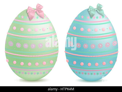 beautiful pastel painted and decorated, illustrated  easter eggs, isolated on white background - Stock Image