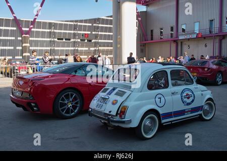 Fiat 500 Abarth Martini Racing. Retro Málaga 2019. Spain. - Stock Image