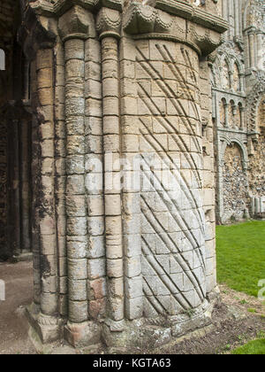 Castle Acre Priory - Norman Decorated Pillar - Stock Image