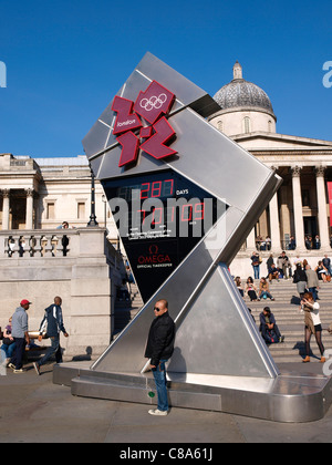 2012 London Olympics countdown clock in Trafalgar Square London - Stock Image