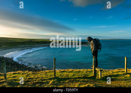 The Ness of Duncansby over Sannick Bay, from Duncansby Head.  Near John o' Groats, Caithness, Scotland, UK - Stock Image