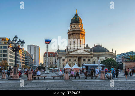 Berlin Deutscher Dom,German Church. Historic building on the Gendarmenmarkt with green dome, decorative exterior, columned facade and sculptures - Stock Image