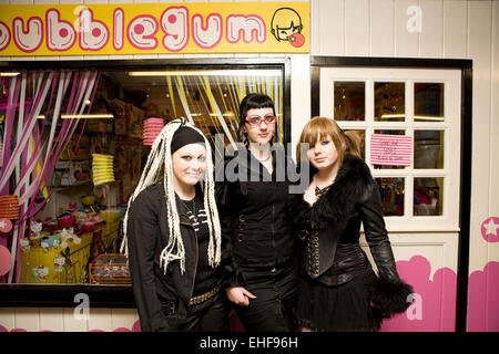 Girls outside a shop at Whitby Goth Weekender - Stock Image