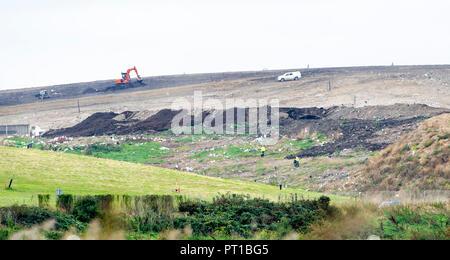 Rainham Marshes Essex UK - The Veolia landfill site at Purfleet - Stock Image