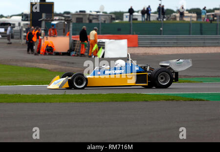 Chris Perkins driving a 1974,  Surtees T S16, during the FIA Masters Historic Formula One Race at the 2017 Silverstone Classic - Stock Image