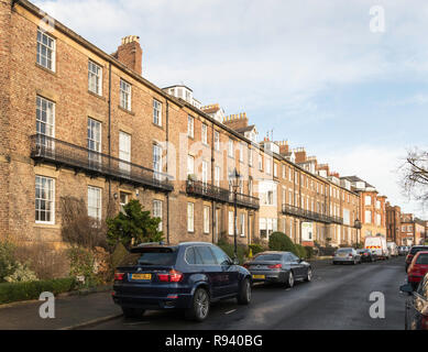 Bath Terrace, listed Georgian town houses in Tynemouth, north east England, UK - Stock Image