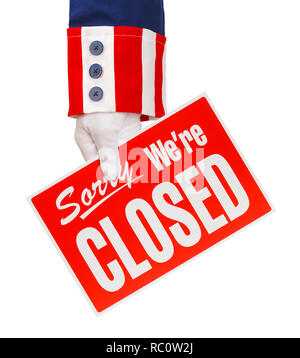 President Holding Closed Sign Isolated on White. - Stock Image