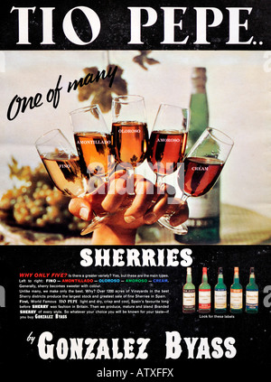 1960s Nova Magazine October 1968 Advertisement for Tio Pepe Sherry by Gonzalaz Byass FOR EDITORIAL USE ONLY - Stock Image