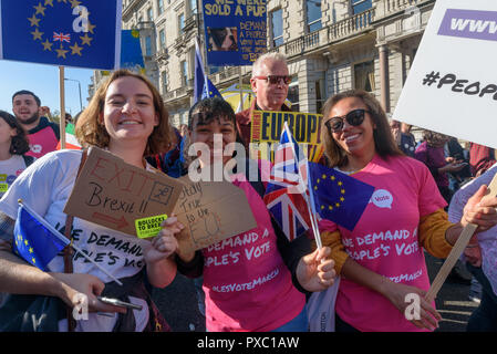 London, UK. 20th October 2018. People with placards, posters and flags on the People's Vote March calling for a vote to give the final say on the Brexit deal or failure to get a deal as the march leaves Hyde Park Corner. They say the new evidence which has come out since the referendum makes it essential to get a new mandate from the people to leave the EU. Peter Marshall/Alamy Live News - Stock Image