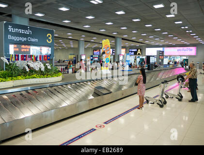Baggage claim at Suvarnabhumi International Airport in Bangkok Thailand - Stock Image