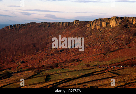 Curbar & Froggatt Gritstone Edges in the Peak District National Park Derbyshire - Stock Image