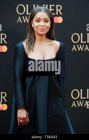 London, UK. 7th Apr 2019. Antonia Thomas poses on the red carpet at the Olivier Awards on Sunday 7 April 2019 at Royal Albert Hall, London. Picture by Credit: Julie Edwards/Alamy Live News - Stock Image